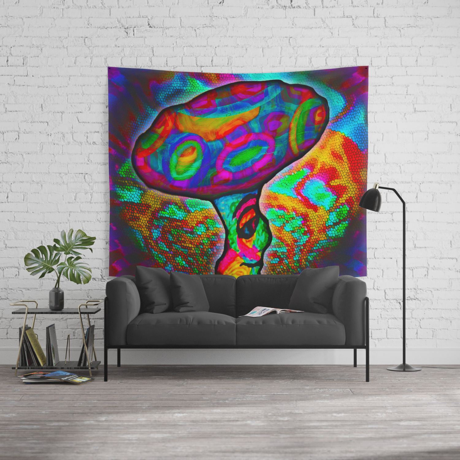 Shroomery #1 Psychedelic Colorful Mushroom Trippy Character Design Wall  Tapestry