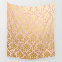 Princess like - Luxury pink gold ornamental damask pattern Wall Tapestry