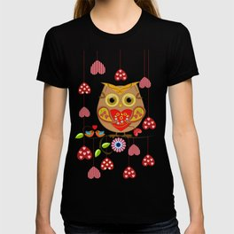 Valentine's day owl with hearts T-shirt