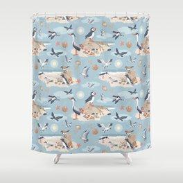 Coastal Birds Pattern Shower Curtain