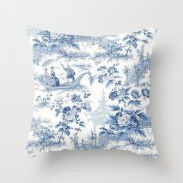 Powder Blue Chinoiserie Toile Throw Pillow