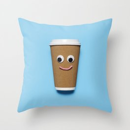 Happy disposable coffee cup Throw Pillow