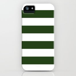Large Dark Forest Green and White Cabana Tent Stripes iPhone Case