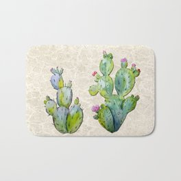 Water Color Prickly Pear Cactus Adobe Background Bath Mat
