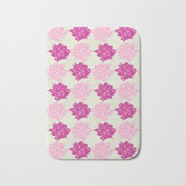 Peony Illustrated Pattern In Dreamy Pinks and Mint Green Bath Mat