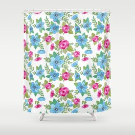 Blue Lilly Watercolor Shower Curtain