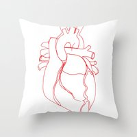 anatomical heart Throw Pillows featuring Anatomical heart by Laurel Howells