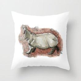 Watercolor Hippo Throw Pillow