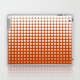 Cool modern techno shrinking polka dots white on mahogany Laptop & iPad Skin