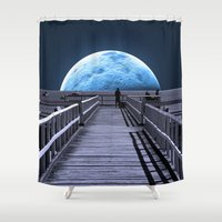 fishing Shower Curtains featuring Once in a blue moon by Donuts
