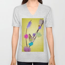Tropical butterfly sitting on the colored bush over yellow background Unisex V-Neck