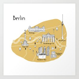 Mapping Berlin - Yellow Art Print