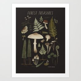 Forest treasures on dark background Art Print