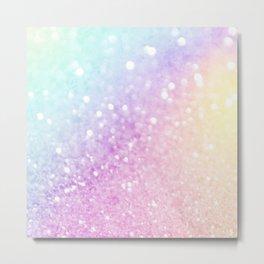 Pretty Pastel Colorful Glitter Bokeh Gradient Metal Print