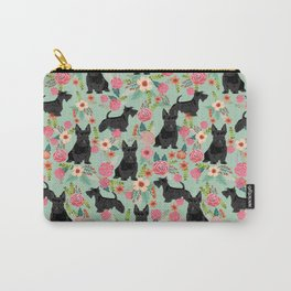 Scottish Terrier florals pattern dog breed dog art pet portraits pet friendly scottie gifts Carry-All Pouch