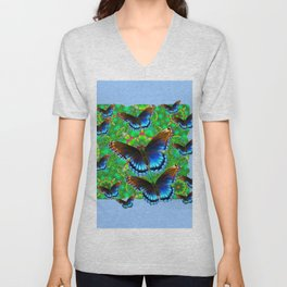 EXOTIC BLUE-BROWN BUTTERFLY ART Unisex V-Neck