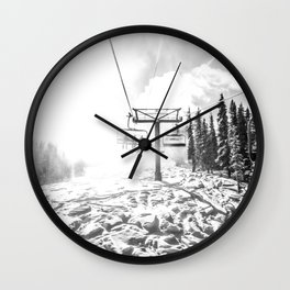 Powder on the Hill // Black and White Skilift Shot on a Deep Snowday Wall Clock