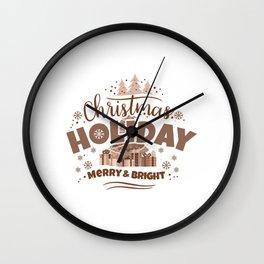 Christmas Holiday Merry & Bright co Wall Clock