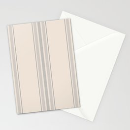 Simple Farmhouse Stripes in Gray on Beige Stationery Cards