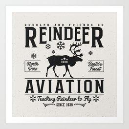 Reindeer Aviation - Christmas Art Print