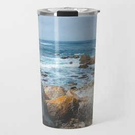 The Restless Sea II | Nature Landscape Photography of the Californian Coast's Blue Waves Travel Mug