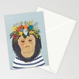 Baby Monkey, Nursery Animal, Safari Decor, Cute Baby Monkey Stationery Cards