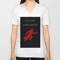 blade runner V-neck T-shirts featuring BLADE RUNNER by tanman1