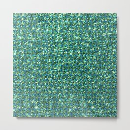 Emerald green faux glitter background Metal Print