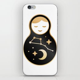 Russian doll matrioshka Babushka smiling Kawaii cute face, Stars, moon, constellation Ursa Major iPhone Skin