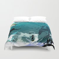 surfing Duvet Covers featuring Surfing by Robin Curtiss