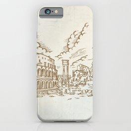 panoramic view on the ancient Theatre of Marcellus( Teatro di Marcello ), vector illustration hand d iPhone Case