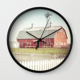 Farm Life ~ Red Barn Wall Clock