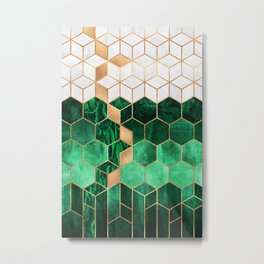 Emerald Cubes And Hexagons Metal Print