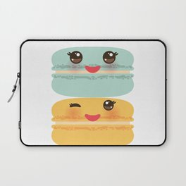 Kawaii macaroon funny orange blue lilac cookie with pink cheeks with pink cheeks and big eyes Laptop Sleeve