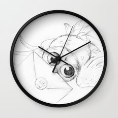 Little owl, Pigwidgeon, flying with a letter Wall Clock