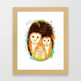 Owl Family Home Framed Art Print