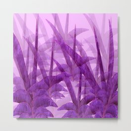 Violet Garden Succulent Plants On A Pink Background #decor #society6 #homedecor Metal Print
