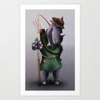 robin hood Art Prints featuring Robin Hood Rhino by Jon Hopkins Illustration