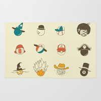 hats Area & Throw Rugs featuring Weird balls with weird hats by AGRIMONY // Aaron Thong