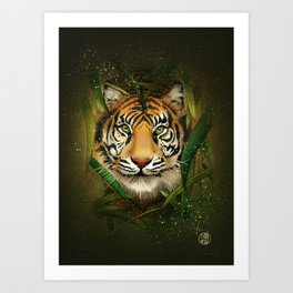Tiger and Bamboo Art Print