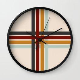Colored Retro Cross Stripes Wall Clock
