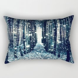 Magical Forest Teal Gray Elegance Rectangular Pillow