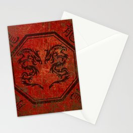 Distressed Dueling Dragons in Octagon Frame With Chinese Dragon Characters Stationery Cards
