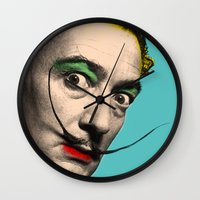 salvador dali Wall Clocks featuring Salvador Dali by mark ashkenazi