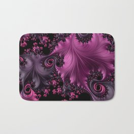 Pink Silk Fractal Leaves Bath Mat