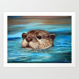 River Otter Painting Art Print