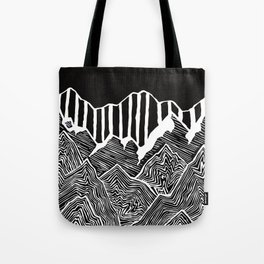 Geode Mountains Black and White Tote Bag