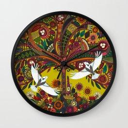 tree of life chartreuse Wall Clock