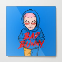 Bad Bunny Illustration Metal Print