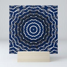 Blue stripes on white grunge textured kaleidoscope Mini Art Print